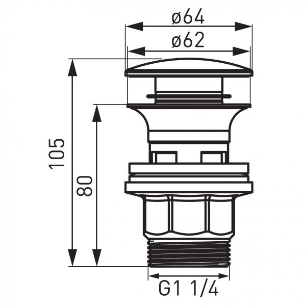 "Ventil lavoar FERRO S287PP-B, click-clack din ABS  1 1/4"" cu preaplin, crom 1"