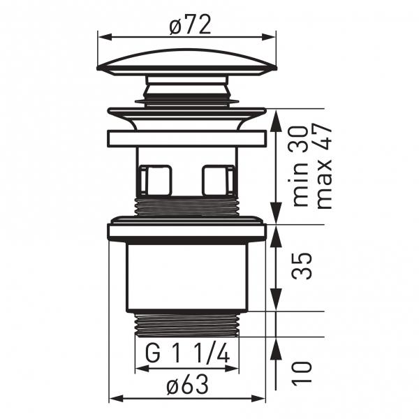 """Ventil lavoar FERRO S288PPC, click-clack din ABS  1 1/4"""" cu preaplin, ceramic alb 1"""