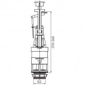 Armatura universala(Mecanism golire rezervor WC) FERRO 495.P, cu apasare pentru rezervor wc, crom1