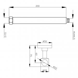 Bara pentru prelungire FERRO LP20-NP71, set dus dual cu 1 suport, crom1