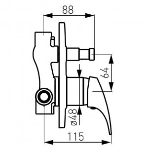 Baterie ingropata cada/dus FERRO Combo BCM7P, crom1