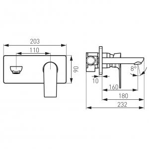Baterie ingropata lavoar FERRO Square BAQ3PA18, crom cu pipa 18 cm2