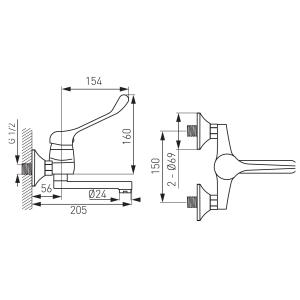 Baterie medicala perete lavoar/spalator FERRO Vasto Medico BVAM3, crom1