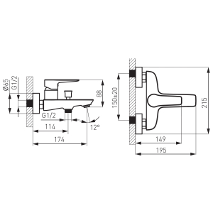 Baterie perete cada/dus FERRO Adore BDR1BLC, negru/crom fara accesorii1