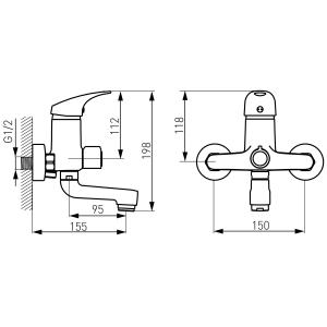 Baterie perete cada/dus FERRO Combo BCM1A, crom cu pipa mobila fara accesorii1