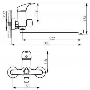 Baterie perete cada/dus FERRO Combo BCM5A, crom cu pipa mobila  L= 350 mm1