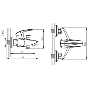 Baterie perete cada/dus FERRO Metalia 57 57020/1.0, crom fara accesorii1