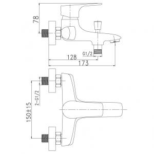 Baterie perete cada/dus FERRO Nice 97020/1.0, crom fara accesorii1