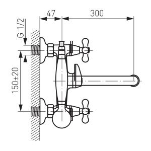 Baterie perete cada/dus FERRO Retro XR11A, crom cu accesorii1