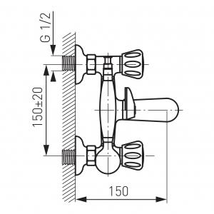 Baterie perete cada/dus FERRO Standard BST11, crom cu accesorii1
