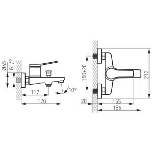 Baterie perete cada/dus FERRO Stratos BSC1BL, negru fara accesorii1