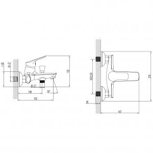 Baterie perete cada/dus FERRO Toscana BTA1, crom fara accesorii1