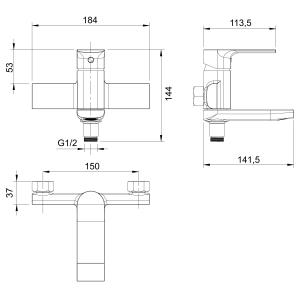 Baterie perete cada/dus FERRO Trend 41022/1.0, crom cu pipa mobila1