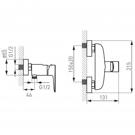 Baterie perete dus FERRO Adore BDR7, alb/crom fara accesorii1
