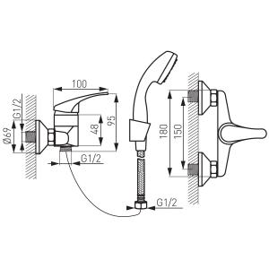 Baterie perete dus FERRO Basic BBC77, crom cu accesorii1