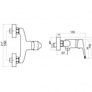 Baterie perete dus FERRO Iris New 94461/1.0, crom fara accesorii1