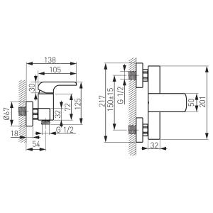 Baterie perete dus FERRO Kvadro 35060/1.0, crom fara accesorii1