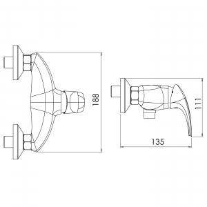 Baterie perete dus FERRO Metalia 57 57060/1.1, alb/crom fara accesorii1