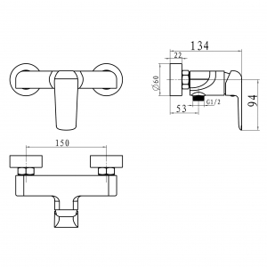 Baterie perete dus FERRO Tina 38061/1.1, alb/crom fara accesorii1