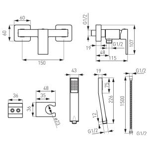 Baterie perete dus FERRO Zicco BZI77, crom cu accesorii1