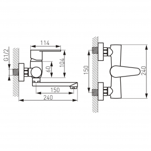 Baterie perete lavoar/spalator FERRO Algeo BAG3, crom1