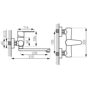 Baterie perete lavoar/spalator FERRO Algeo BAG5, crom1