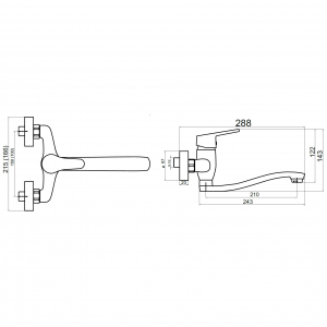 Baterie perete lavoar/spalator FERRO Iris New 94470.0, crom fara accesorii1