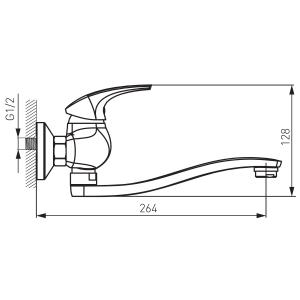 Baterie perete lavoar/spalator FERRO Metalia 57 57070.0, crom1