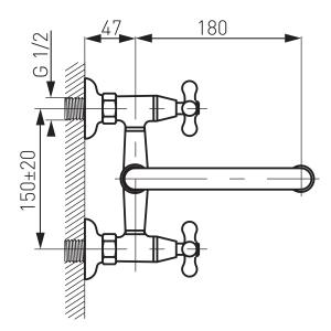 Baterie perete lavoar/spalator FERRO Retro XR3, crom1