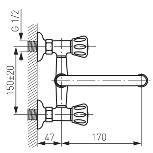 Baterie perete lavoar/spalator FERRO Standard BST3, crom1