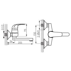Baterie perete lavoar/spalator FERRO Vasto BVA3, crom1