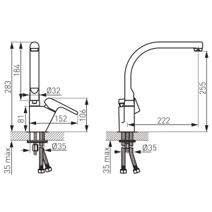 Baterie spalator FERRO Kvadro 35713.0, crom cu pipa inalta1