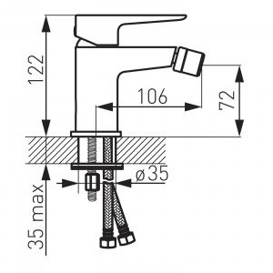 Baterie stativa bideu FERRO Adore BDR6BLC, negru/crom cu ventil1