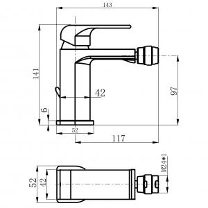 Baterie stativa bideu FERRO Sharp 37011.0, crom cu ventil1