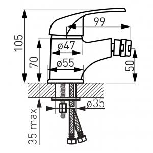 Baterie stativa bideu FERRO Vasto BVA6, crom cu ventil1