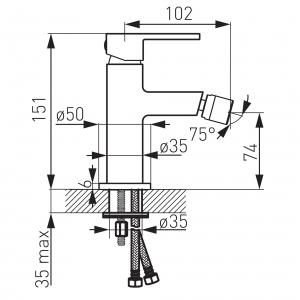 Baterie stativa bideu FERRO Zicco BZI6, crom cu ventil1