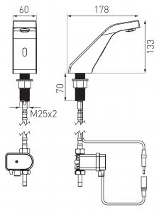 Baterie stativa lavoar cu senzor FERRO Sirocco BBB101, crom1