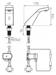"Baterie stativa lavoar cu senzor FERRO Sirocco BBB101M, crom cu mixer mecanic 3/8""1"