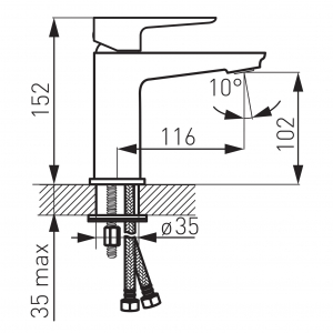 Baterie stativa lavoar FERRO Adore BDR2BLC, negru/crom cu ventil1