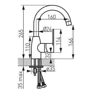 Baterie stativa lavoar FERRO Algeo BAG2ABL, negru cu pipa mobila inalta1