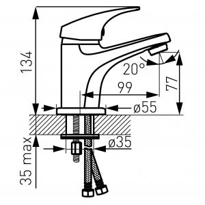 Baterie stativa lavoar FERRO Combo BCM2, crom cu ventil click - clack1