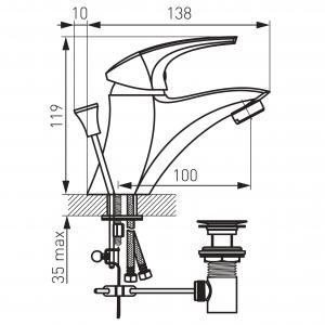 Baterie stativa lavoar FERRO Metalia 57 57001.0, crom cu ventil1