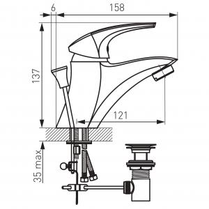 Baterie stativa lavoar FERRO Metalia 57 57002.0, crom cu ventil1