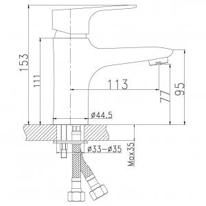 Baterie stativa lavoar FERRO Nice 97001.0, crom cu ventil1