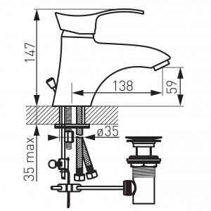 Baterie stativa lavoar FERRO Padwa BTP2, crom cu ventil1