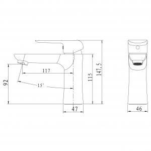 Baterie stativa lavoar FERRO Tina 38001/1.1, alb/crom fara ventil1