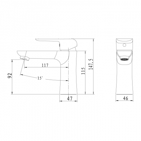 Baterie stativa lavoar FERRO Tina 38003.5, negru/crom cu ventil1