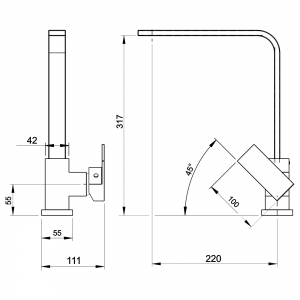 Baterie stativa spalator FERRO Edge 36713.0, crom cu pipa inalta1