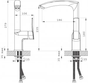 Baterie stativa spalator FERRO Florence VerdeLine BFL4VL, crom1