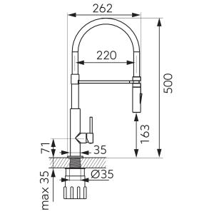 Baterie stativa spalator FERRO LibrettoBLE4B, crom/negru, pipa elastica extractibila1